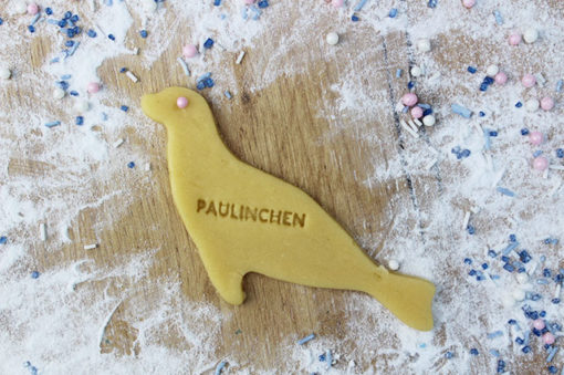 Ausstechform Seehund personalisiert mit Wunschname