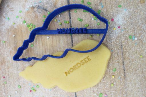 Keks Ausstechform Schneckenmuschel mit Wunschtext personalisiert