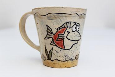 Keramikbecher Bodo und Bolle mit Fisch Motiv