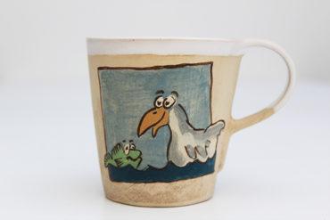 Keramikbecher Maja mit Ente und Frosch Motiv