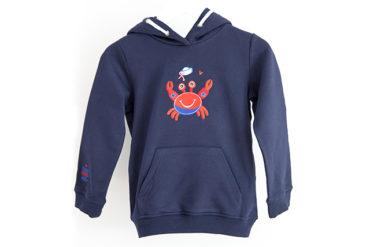 Kinder Hoodie Krabbe blau